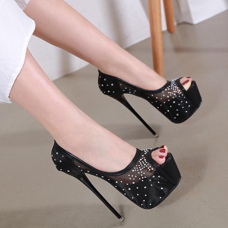 Сандалии Летняя сетка (воздушная сетка) Женская обувь Вечеринка Slip-на твердой мода на мелководье пятки Тонкие каблуки Рот рот Супер высокий (8см вверх)