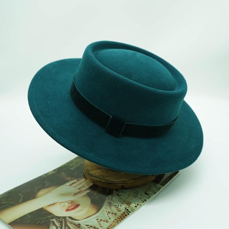 202110-panshi-france grace Retro gemstone green wool velvet ribbon fedoras cap men women leisure panama jazz hat