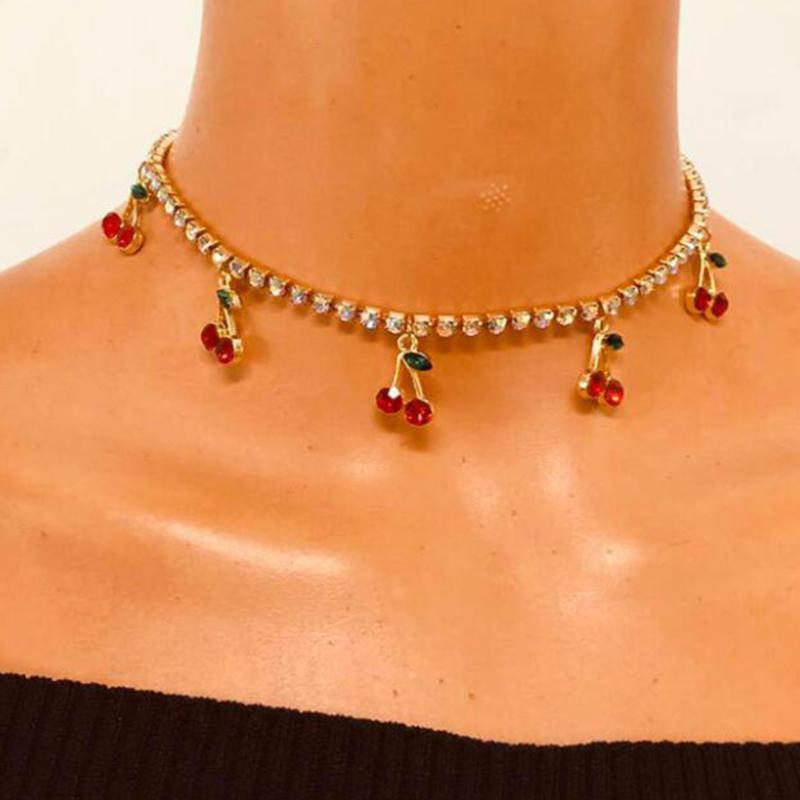 Novo Luxo Vermelho Vermelho Cristal Corrente de Tênis Mulheres Colar Charme Bonito Pingente Colares Mulheres Rhinestone Jóias Presente