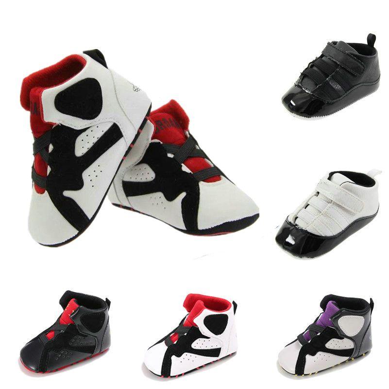 2021 Baby Lederen Hoge Top Sneakers Crib Infant First Walkers Laarzen Designer Schoenen Kids Slippers Peuters Soft Sole Slip-on Slipper