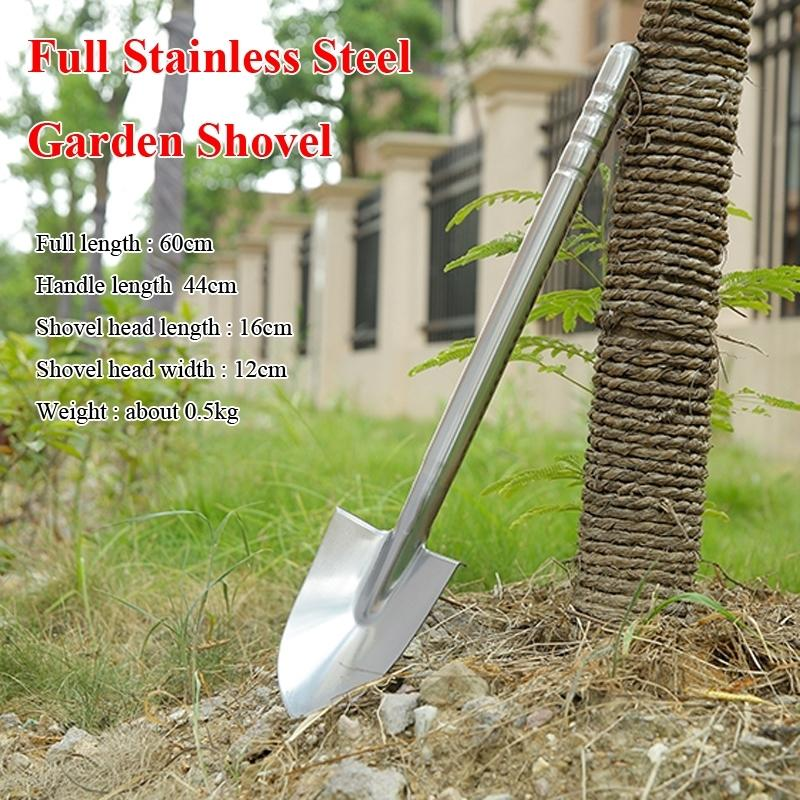 60cm Fully Stainless Steel Garden Shovel High Quality Durable Outdoor Explore Camping Spade Emergency Survival Hand Tools 545421