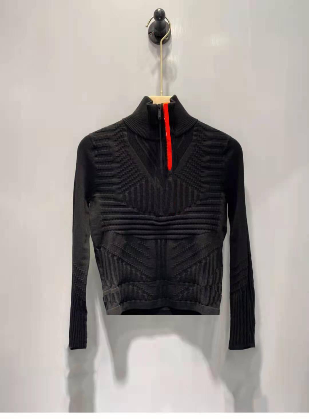 여성 탑스 스웨터 양모 니트 티즈 지퍼 넥 편지 스트라이프 넥 레이디 슬림 스웨터 긴 소매 셔츠 봄 가을 스타일 사이즈 S-L