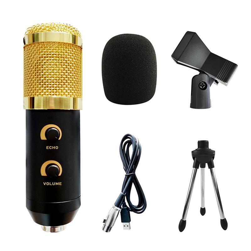 Micrófono de condensador de doble perilla de reverbilla USB, enchufe y reproducción, micrófono con soporte, micrófono de grabación vocal de estudio