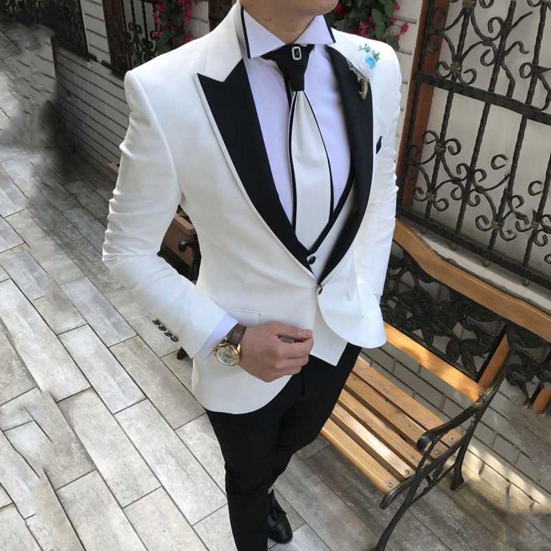 Latest Coat Pant Designs White Men Suits for Wedding Suit Men Groom Blazer Tuxedo Slim Fit Costume Pour Hommes Terno Masculino