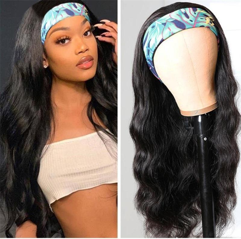 18 pulgadas Kinky Curly Headband WIGS Bufanda brasileña Humano para las mujeres negras Sin pegamento cosido en 1