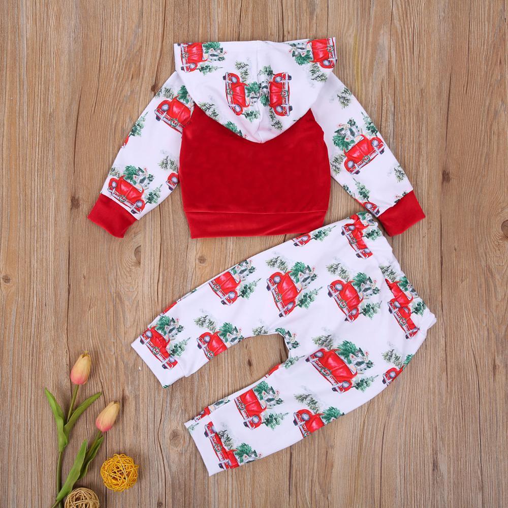 0-2Y Baby Mädchen Baumwolle Rot Langarm Auto Print Mit Kapuze Neugeborenen T-shirts + Kinder Hose Kid Kleidung Set Mädchen Weihnachten 2 stücke Sets