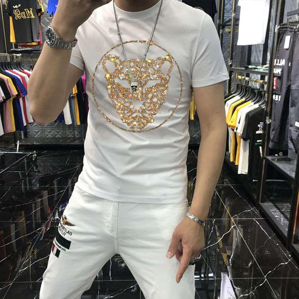 نمط جديد أزياء الهيب هوب الرجال قصيرة الأكمام الفهد نمط الفاخرة فضفاضة تي شيرت الصيف x1214