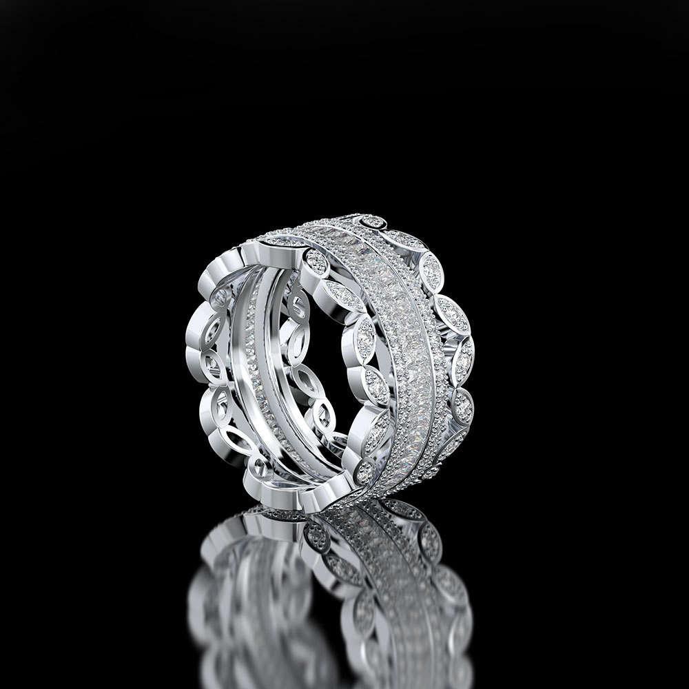 HBP luxury fashion temperament exquisite exaggeration lace full diamond goddess micro set zircon ring