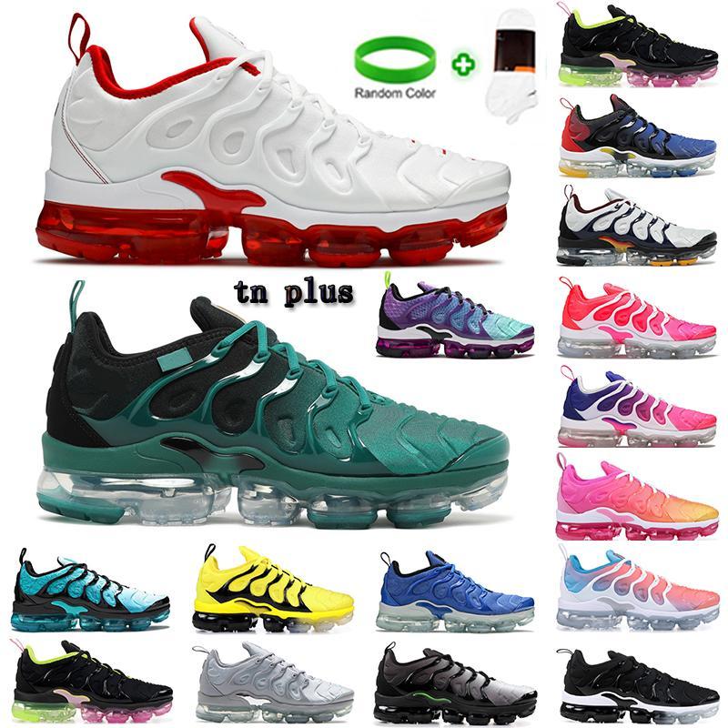 Air VAPORMAX TN FLYKNIT shoes En Kaliteli Yastık OG TN Artı Erkek Kadın Koşu Ayakkabıları Midnight Donanma Degradeler Mavi ABD Coquettish Mor Sneakers Eğitmenler Boyutu 40-45