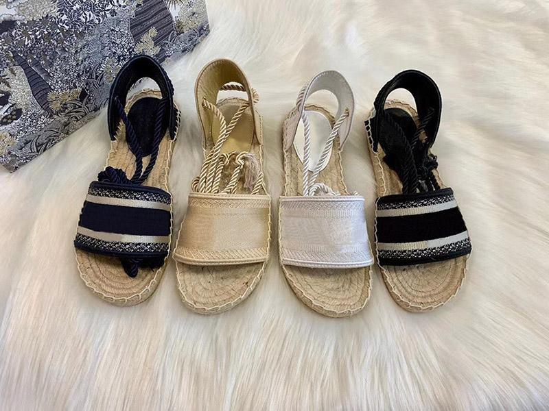 الأزياء الأسود نسج الصنادل الصيف منصة عارضة النعال الأبجدية صياد الأحذية جلدية النساء الأحذية القنب حبل العشب الدانتيل يصل صندل