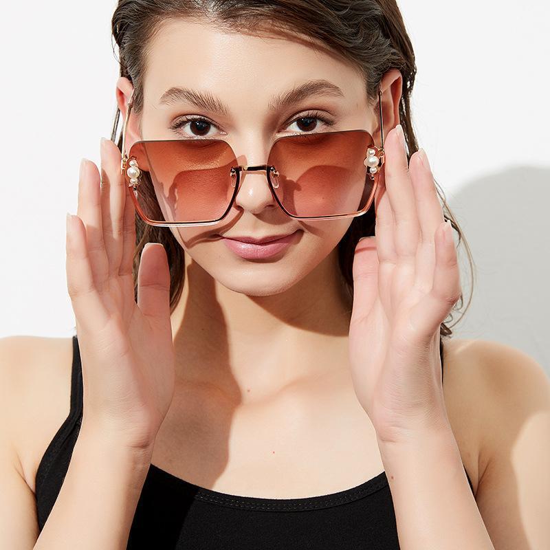 Sunglasses QPeClou 2021 Vintage Half Frame Square Women Fashion Luxury Pearls Sun Glasses Female Brown Shades