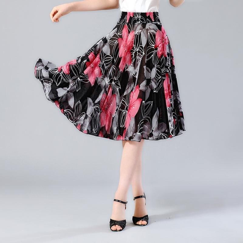 NUEVO verano Faldas de impresión larga para mujer Elástico Alto cintura elegante falda plisada más Tamaño Faldas Saia Moda Falda casual femenina 210315