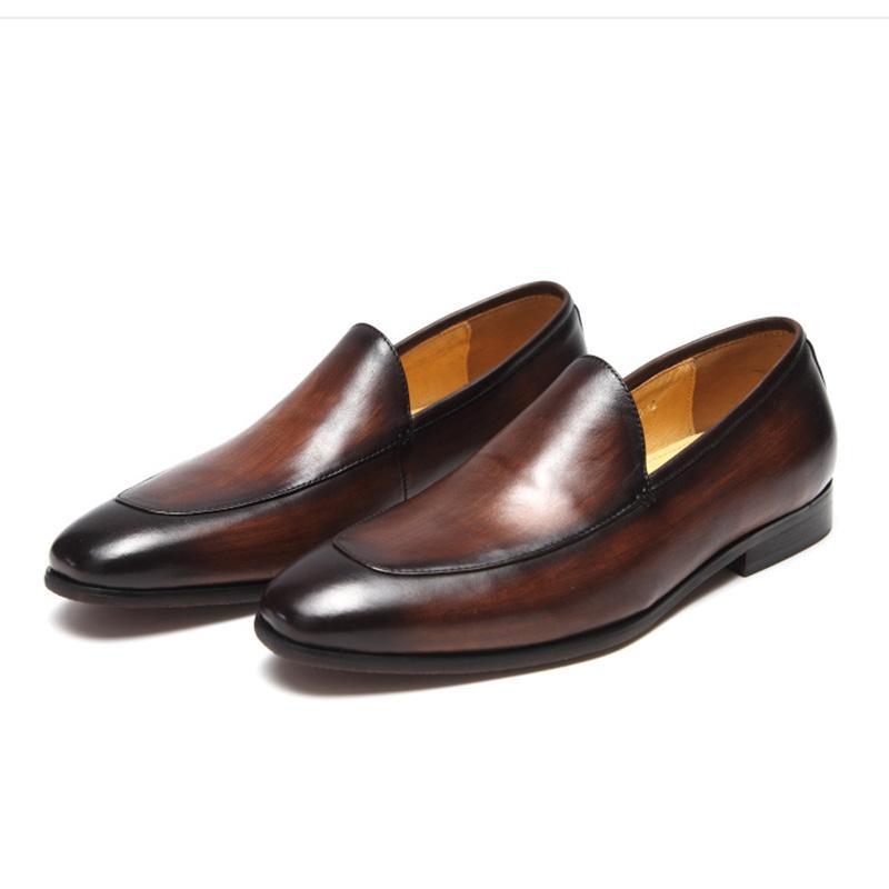الرجال الأحذية الجلدية الأعمال اللباس دعوى أحذية الرجال العلامة التجارية بولوك جلد طبيعي أسود زلقة أحذية رجالي الزفاف