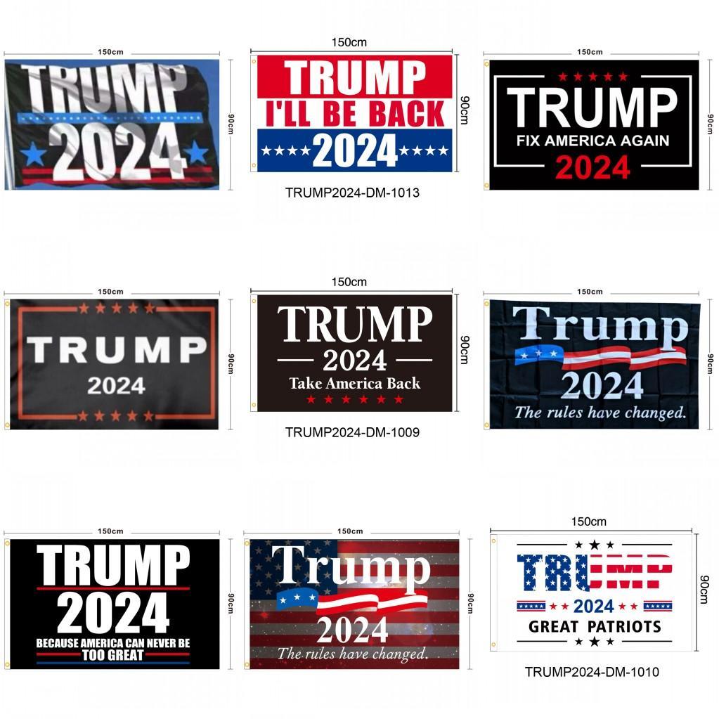 Трамп 2024 Флаги 3x5 футов 100D Полиэстер 150x90см Баннер для Президентского выбора Флаг DHL DHL