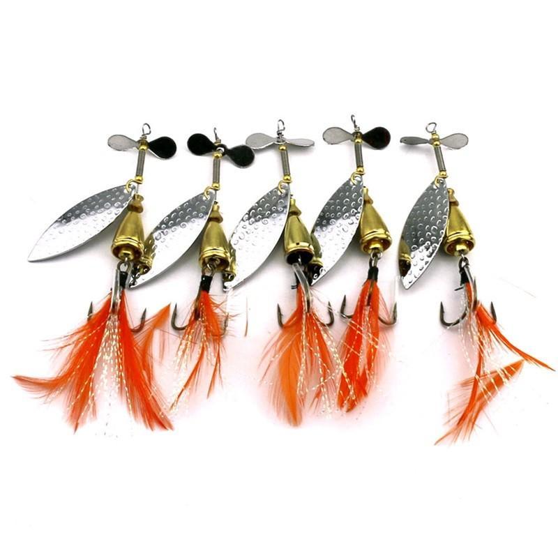 Metal Spinner Bait 8,4 см 13,2 г Спиннер Джиги Рыболовные Лайки Виб Лезвия Вращающиеся спиннеры с перьями Крючки 389 x2