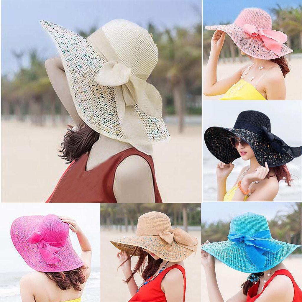 Donne colorate Big Brim Straw Bow Hat Sun floppy Wide Brim Hats Beach Cap Y0223