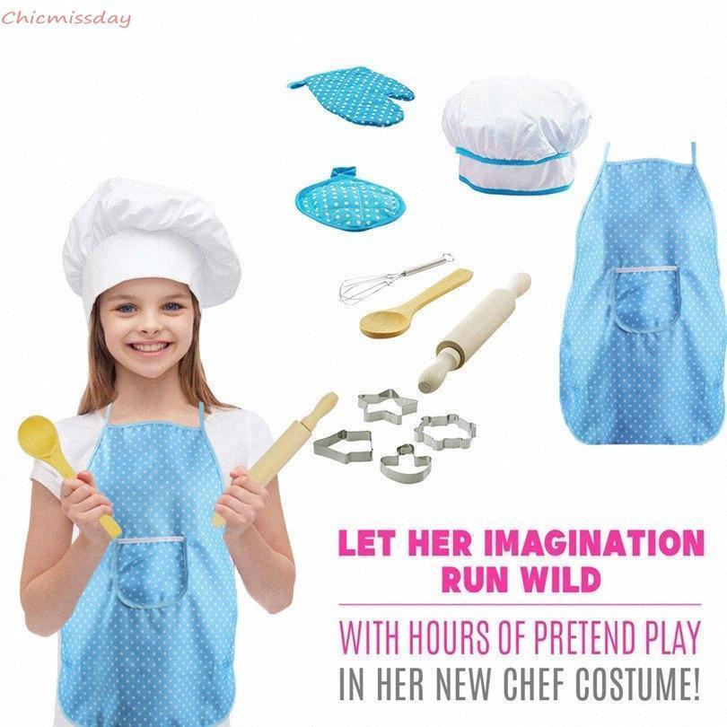 Niños para hornear cocinar delantal Chef conjuntos de disfraces para niños niñas niños cocinar juego cocina hornear molde de pastel 11pcs / set