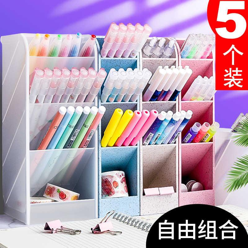 Obliquely Inserted Kaba Bear Holder Women's Creative Fashion Stationery Nordic Transparent Desktop Barrel Put Pen Storage Box