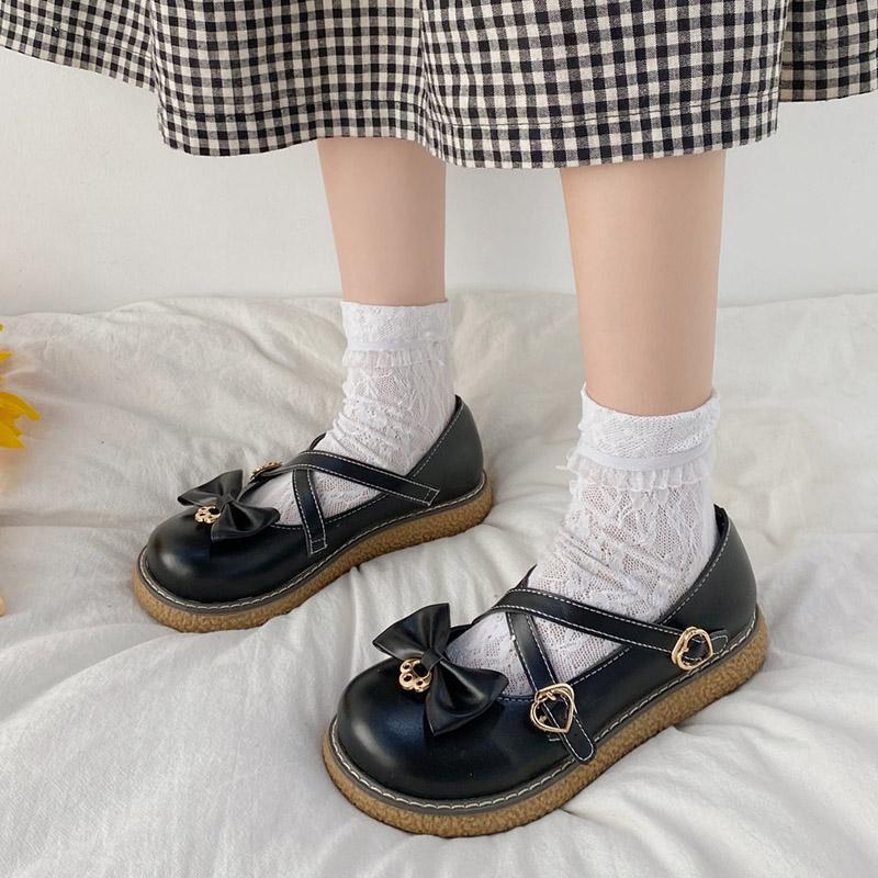 Lolita ayakkabı çapraz bağlı platform ayakkabı kalp şeklinde toka kayış Mary Janes ayakkabı kızlar prenses ayakkabı kadınlar casual 8850n