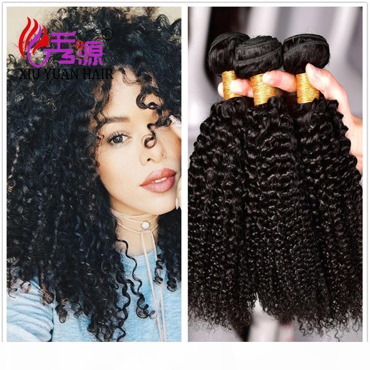 Xiuyuanhair Кутикулы выровнены необработанные девственницы человеческие волосы пучки двойной уток странные кудрявые реми людские наращивания волос бесплатная доставка