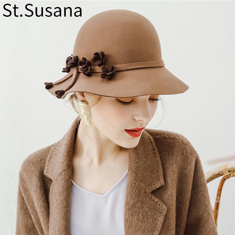 Stingy Rand Hüte St.Susana Wollhut Herbst Winter Europäischen Amerikaner Elegante Mädchen Mode Weihnachtskap Damen Eimer Frauen Fedora