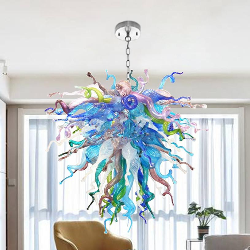 레인 보우 블로운 유리 샹들리에 램프 여러 가지 빛깔의 사용자 정의 체인 펜던트 조명 LED 에너지 절약 빛 거실 아트 장식에 대 한