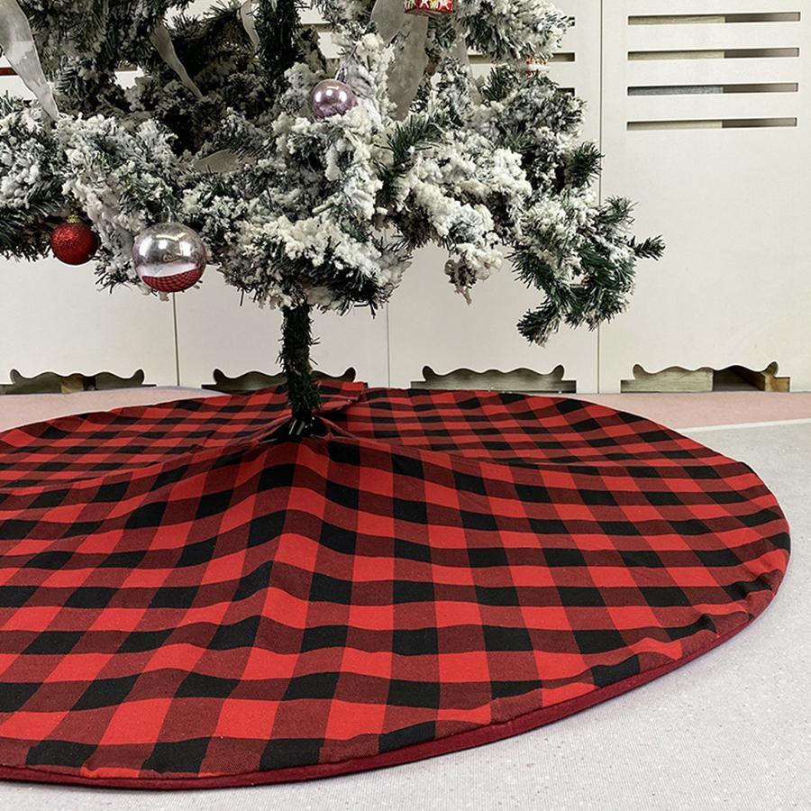 크리스마스 트리 스커트 레드 블랙 체크 무늬 트리 하단 크리스마스 트리 드레스 크리스마스 나무 장식 휴일 파티 용품 RRA4328
