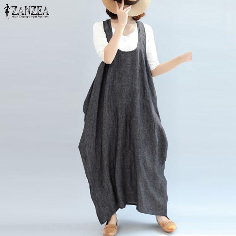 2021 ZANZEA Vintage Mujeres Vintage Vestido de verano Femenino Casual Suspender Tanque Vestido Robe Plus Tamaño Vestidos de fiesta Kaftan Sundress de mujer