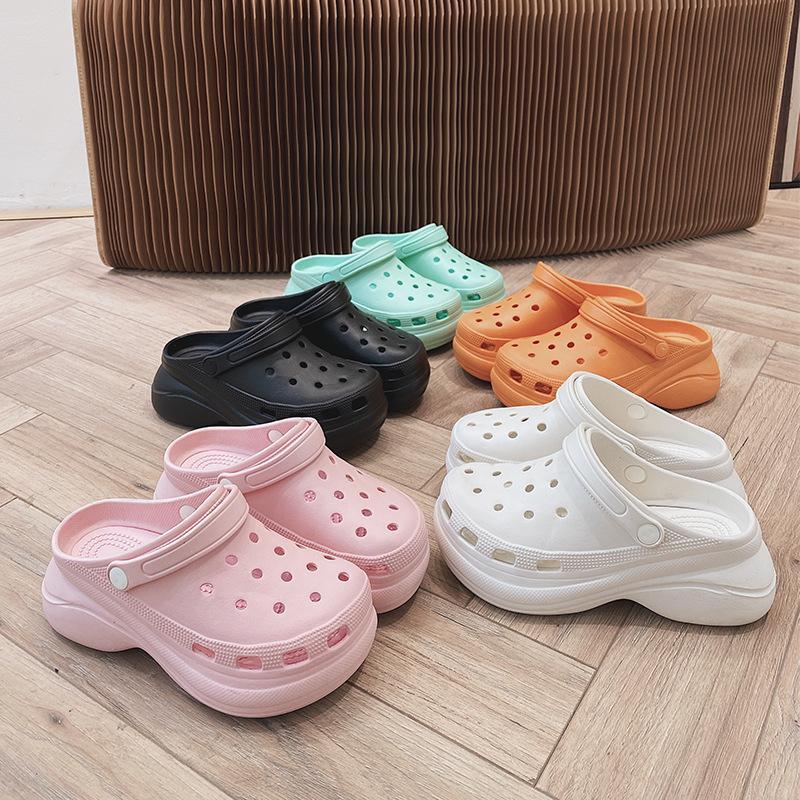 2021 Sandalet Takunya Kadın Terlik Yumuşak Alt Plaj Sandalet Kadın Sandalet Rahat Nefes Ayak Bileği-Wrap PVC Sandalias Mujer
