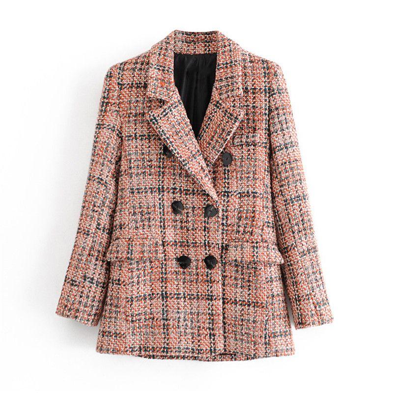 2021 NUEVA OFICINA DE OFICINA MUJER DE LADRAS TWEED Tweed Causal manga larga otoño abrigo de invierno bolsillo traje femenino blazer mk19
