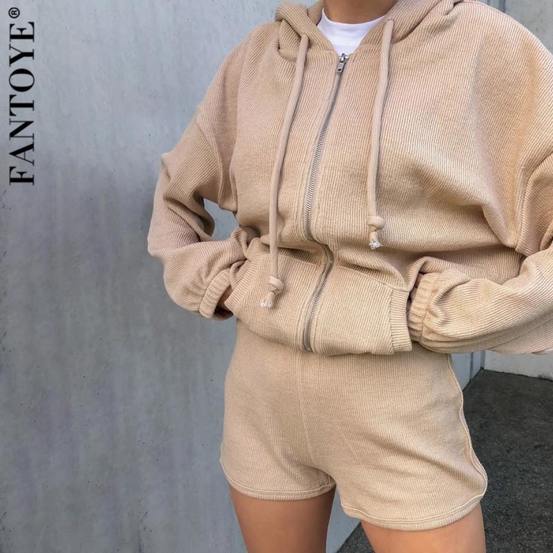 2021 Новый Кордуров с капюшоном набор с капюшоном набор женщин осень с длинным рукавом кардиган шорты костюм женский повседневный сплошной фитнес спортивный костюм FASW