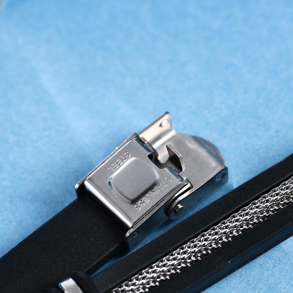 Мужчины браслета запястья с черным рифленым рулем силиконовые сетки вставьте вставку панк браслет из нержавеющей стали стильный повседневный браслет