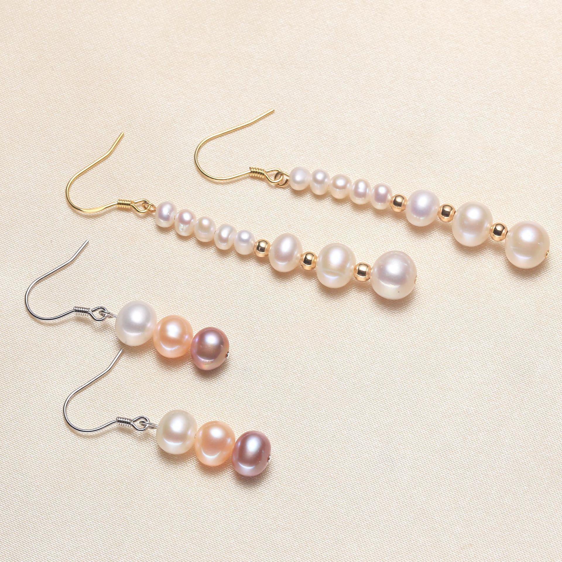 Стерлинговые серебро 925 новая женская мода ювелирные изделия высококачественные жемчужины преувеличенные длинные кисточки простые пресноводные жемчужные серьги