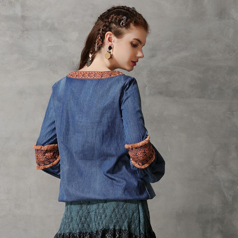 Kadın Bluz Denim Retro-Dantel Işlemeli Kollu Gömlek TB9283 3LXN
