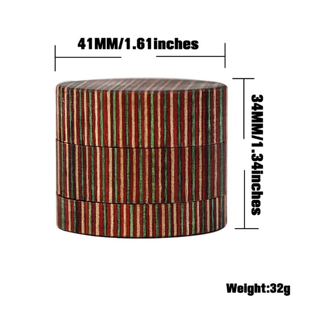 41mm Holz Kräuterschleifer Tabakgewürz Hand Muller 3 Schicht 41x34mm Rollmaschine vs Raucher Rohr Verdampfer Zigarette Zubehör