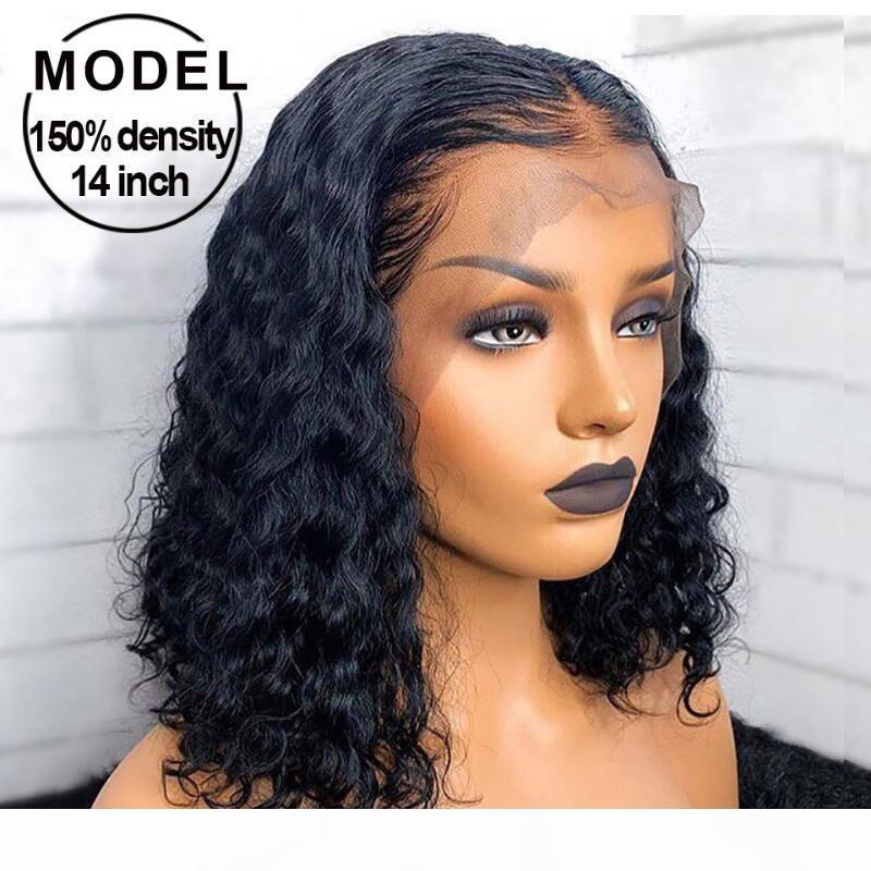 Kıvırcık Kısa Bob Dantel Ön İnsan Saç Peruk Pre Klumped Siyah Kadınlar Için Tutkalsız 13x6 Derin Dalga Frontal Peruk Remy Dantel Frontal Peruk