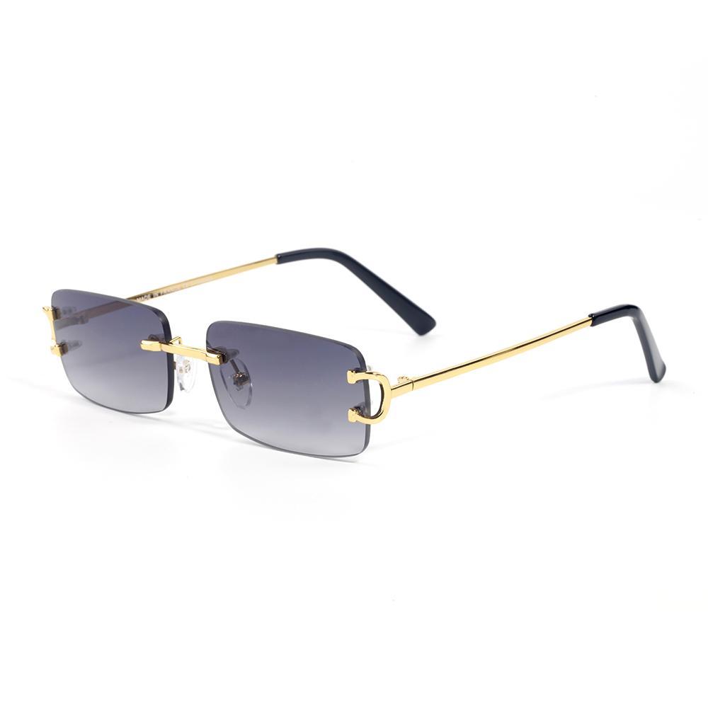 Yeni Varış Kadın Klasik Marka Çerçevesiz Güneş Gözlüğü Erkek Tasarımcı Gözlük Altın Gümüş Metal Çerçeve Buffalo Boynuz Güneş Gözlükleri Kutusu