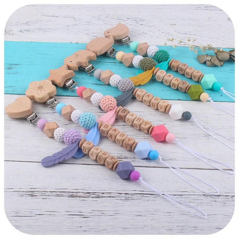 Infant Pacifier Holders Chain Clips Weaning Teething Natural Wooden Practice Toys Baby Accessories DIY Silicone Feather Animal Feeding B8131