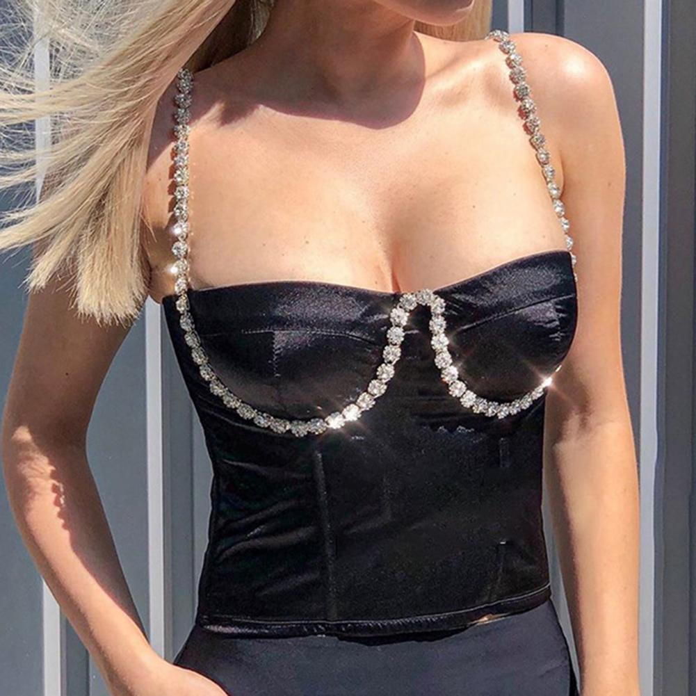 Donne Sexy Sexy Color Sling con strass e petto Scollo ombelicale Bustier Tank Top Fixed Wrap Busto ARC Camisole Gilet