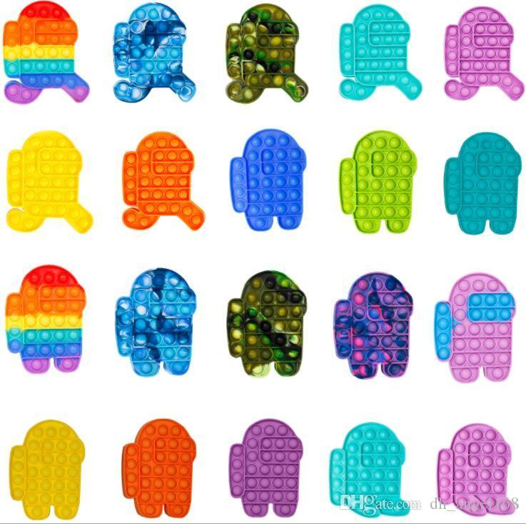 130 pezzi DHL Pop Bubble Party Party Fidget Toy Stress Stress Reliever Sensory Toys Ansia Sollievo per bambini Regali di compleanno