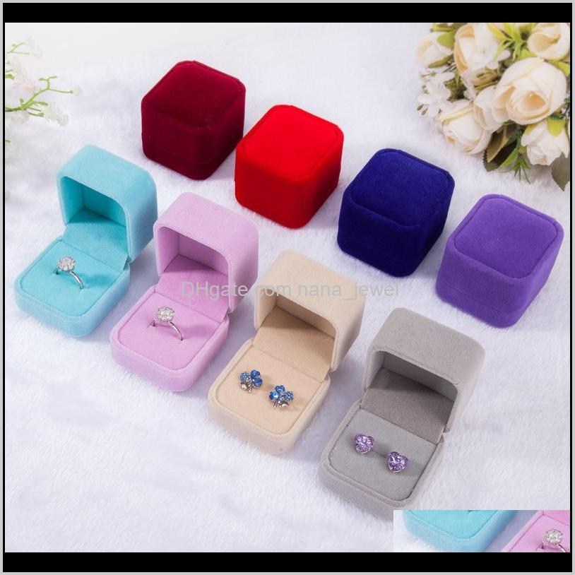 Fashion Velvet Jewelry Boxes Cases For Only Rings & Stud Earrings 12 Color Jewelry Gift Packaging & Display Size 5Cm*4.5Cm*4Cm Zni8U 8Kyu0