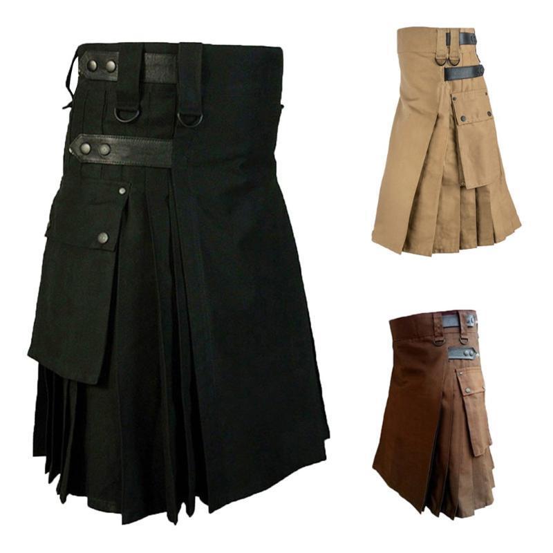 Настраиваемые брюки мужские винтажные Kilt Scotland Gothic Kendo карманные юбки шотландские одежды плиссированные юбка брюки 19sep04