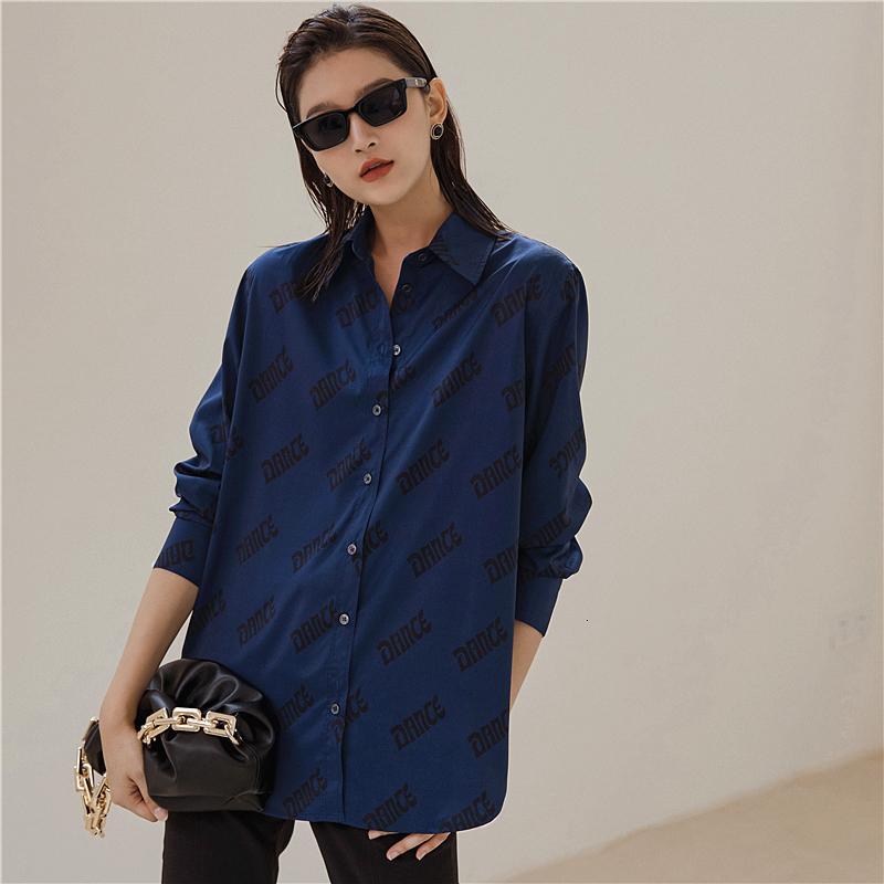 2021 Novo Royal Blue Manga Longa Top e Blusa Queda Mulheres Carta Imprimir Botão Up Colares Camisa Solta Outono Moda Roupas Y0MC