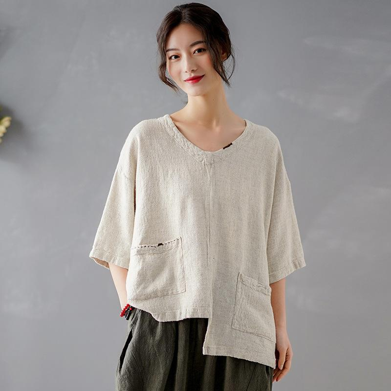 Nakış Kadınlar Johnature Vintage Düzensiz Pamuk Keten V Yaka Pockets 2021 Yaz Yeni Katı Renk T-Shirt A2AR