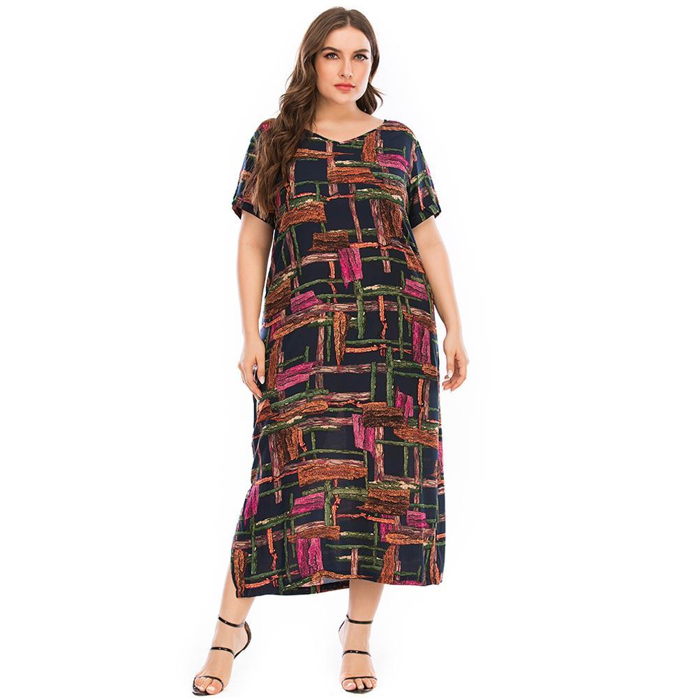 Плюс платье размера женщин летом v шеи с коротким рукавом красочные плед печатные повседневные платья элегантные боковые сплит макси длинные платья 210224
