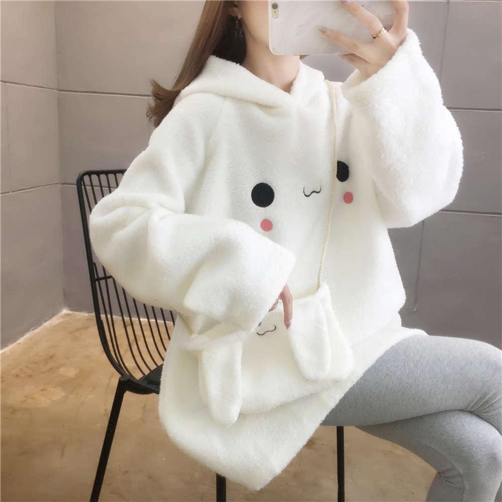 Studente d'autunno e inverno sciolto coreano coniglio con coniglio con cappuccio carino imitazione capelli agnello con maglione borsa da donna