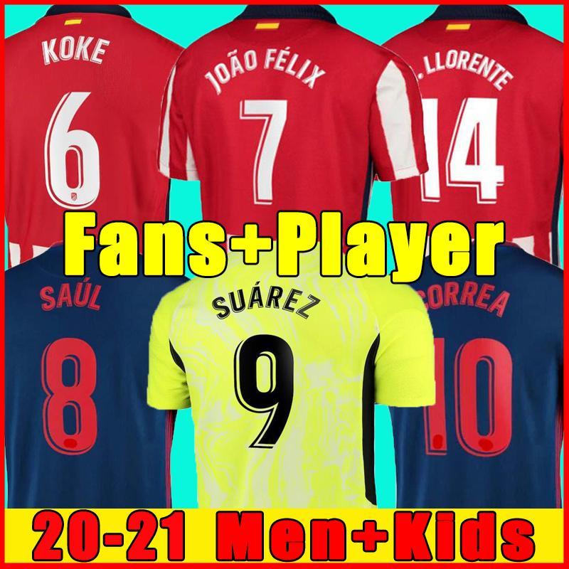 Joao Felix 축구 유니폼 2020 2021 사울 Camisetas Suarez Llorente Correa Koke 축구 셔츠 남성 유니폼 키트 세트 키트 탑 유니폼