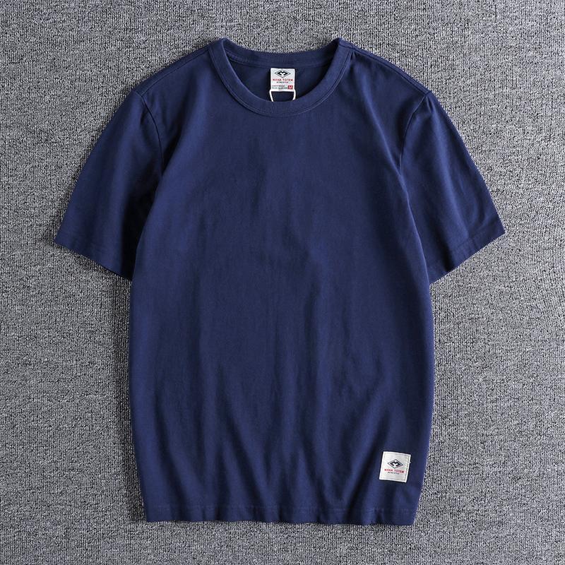 2021 Yaz Yuvarlak Boyun Kısa Kollu T-shirt erkek Düz Renk Basit Çok Yönlü Gevşek Moda Marka Tee Severler için 0912 OGOU