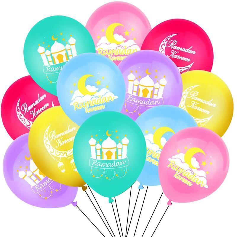 Palloncini Ramadan 12inch Latex Eid Mubarak Balloons Kareem Ramadan Mubarak Musulmano Musulmano Festival islamico festa Decorazioni fai da te HWD4879