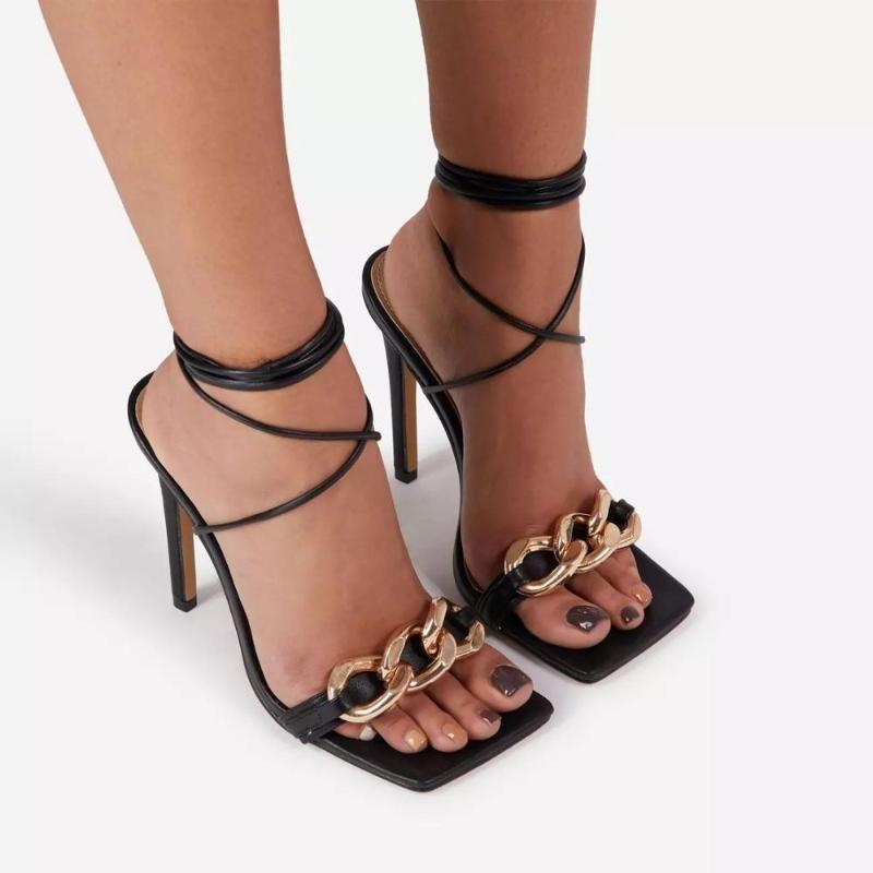 Сандалии каблуки обувь для женщин 2021 металлическая цепь дизайнер женщина женщина мода шнуровка женские женские сексуальные высокие